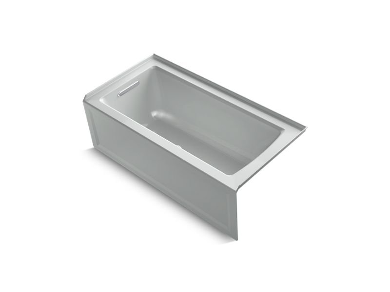 Kohler K-1946-LA-95 Archer 60 x 30 Alcove Bath with Integral Apron, Integral Flange and Left-hand Drain in Ice Grey