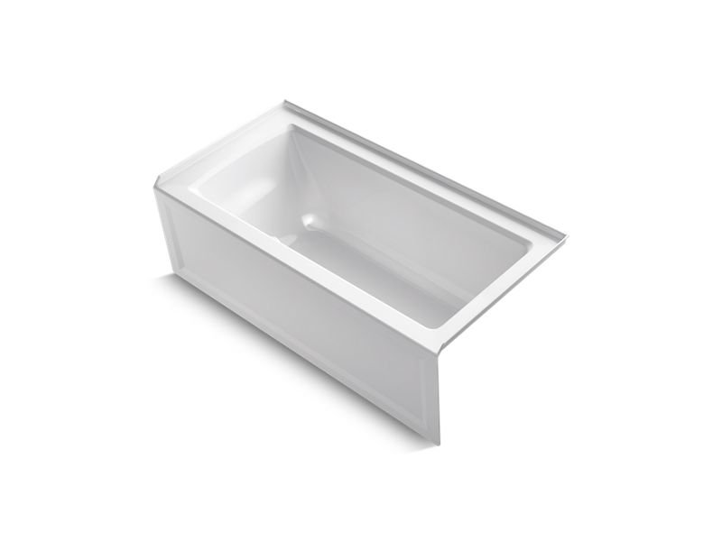 Kohler K-1946-RA-0 Archer Alcove Bath with Integral Apron, Integral Flange and Right-Hand Drain in White