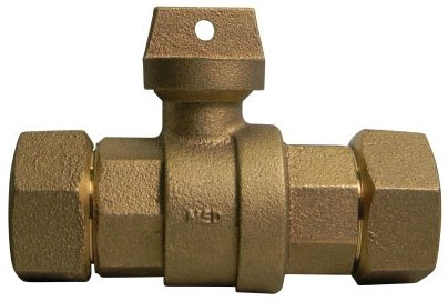 """A.Y. Mcdonald 5129-169 3/4"""", T Cts Compressionxt Compression, 300Psig, Lead-Free, Brass, Ball, Curb Stop Valve"""