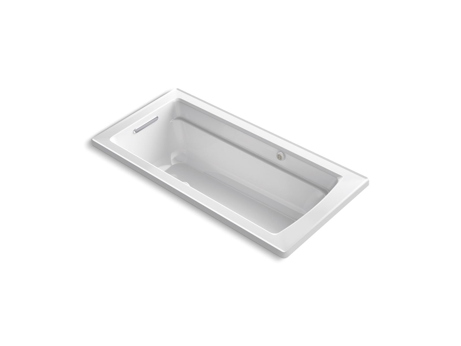 Kohler K-1949-GW-0 Archer 66 x 32 Drop-in Bubblemassage Air Bath with Bask Heated Surface and Reversible Drain in White