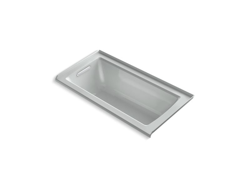 Kohler K-1946-LW-95 Archer 60 x 30 Alcove Bath with Bask Heated Surface, Integral Flange and Left-hand Drain in Ice Grey