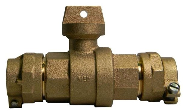 """A.Y. Mcdonald 5133-029 3/4"""", -22 Cts Compressionx-44 Pvc Compression, 300Psig, Lead-Free, Brass, Ball, Curb Stop Valve"""