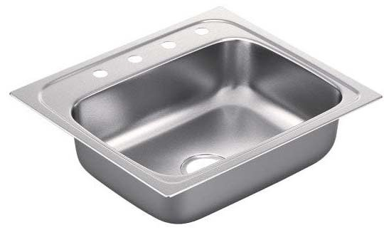 Moen G221964 2200 Series 22-Gauge Single Bowl Drop In Sink, Stainless Steel