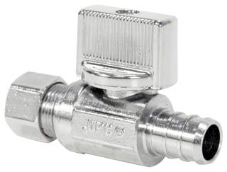 """NIBCO Pro-Stop 7160A-LF_1/2x3/8 1/2"""" X 3/8"""" Pexxcompression Chrome Lead-Free Brass Straight Water Supply Stop Valve"""