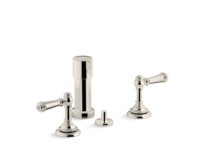 Kohler K-72765-4-SN Artifacts Widespread Bidet Faucet with Lever Handles in Vibrant Polished Nickel
