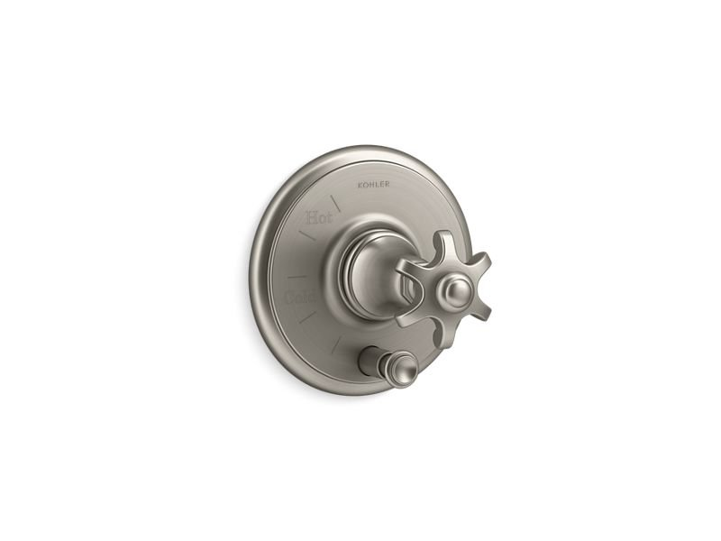 Kohler K-T72768-3M-BN Artifacts Rite-temp Pressure-balancing Valve Trim with Push-button Diverter and Prong Handle in Vibrant Brushed Nickel