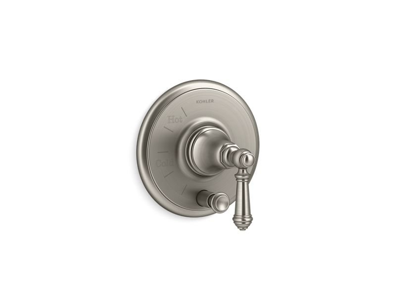 Kohler K-T72768-4-BN Artifacts Rite-temp Pressure-balancing Valve Trim with Push-button Diverter and Lever Handle in Vibrant Brushed Nickel