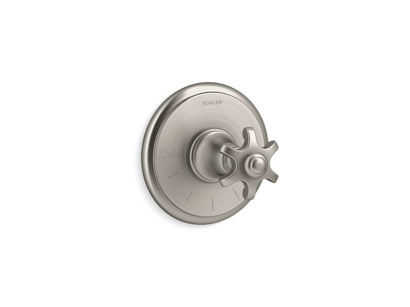 Kohler K-T72769-3M-BN Artifacts Thermostatic Valve Trim with Prong Handle in Vibrant Brushed Nickel