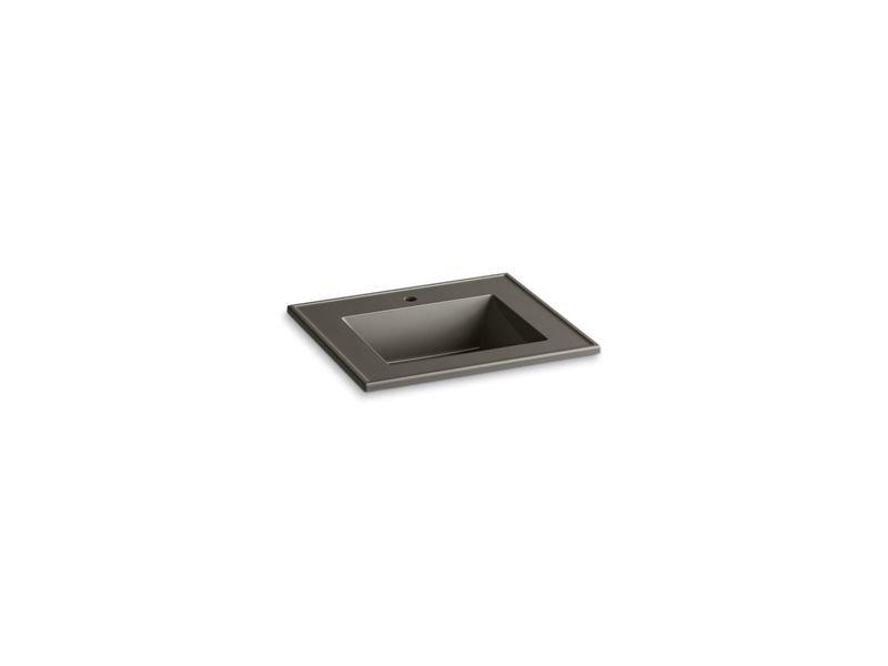 "Kohler K-2777-1-G86 Ceramic/Impressions 25"" Rectangular Vanity-Top Bathroom Sink with Single Faucet Hole in Cashmere Impressions"