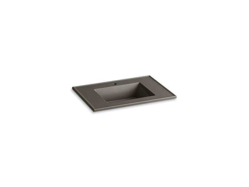 "Kohler K-2779-1-G86 Ceramic/Impressions 31"" Rectangular Vanity-Top Bathroom Sink with Single Faucet Hole in Cashmere Impressions"