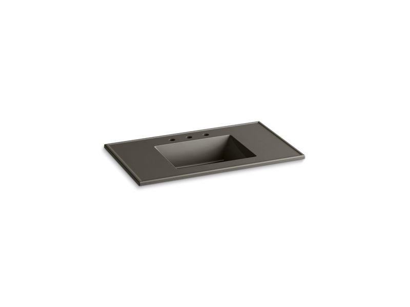 "Kohler K-2781-8-G86 Ceramic/Impressions 37"" Rectangular Vanity-Top Bathroom Sink with 8"" Widespread Faucet Holes in Cashmere Impressions"