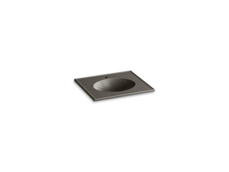 "Kohler K-2791-1-G86 Ceramic/Impressions 25"" Oval Vanity-Top Bathroom Sink with Single Faucet Hole in Cashmere Impressions"