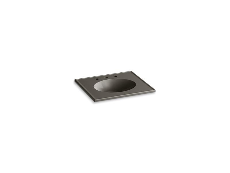 """Kohler K-2791-8-G86 Ceramic/Impressions 25"""" Oval Vanity-Top Bathroom Sink with 8"""" Widespread Faucet Holes in Cashmere Impressions"""
