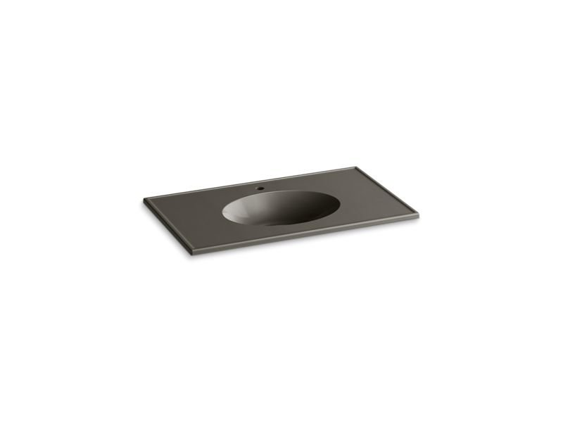 "Kohler K-2798-1-G86 Ceramic/Impressions 37"" Oval Vanity-Top Bathroom Sink with Single Faucet Hole in Cashmere Impressions"