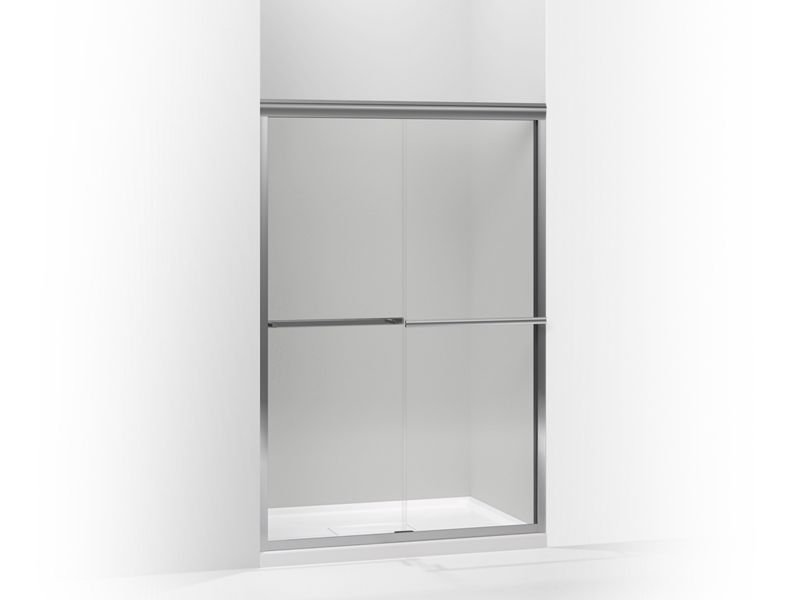 """Kohler K-709063-L-SHP Gradient Sliding Shower Door, 70-1/16"""" H X 47-5/8"""" W, with 1/4"""" Thick Crystal Clear Glass in Bright Polished Silver"""