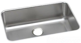 "Elkay ELUH2416 Lustertone Classic 18 Gauge Stainless Steel 26.5"" x 18.5"" x 8"" Single Bowl Undermount Kitchen Sink in Lustrous Satin"