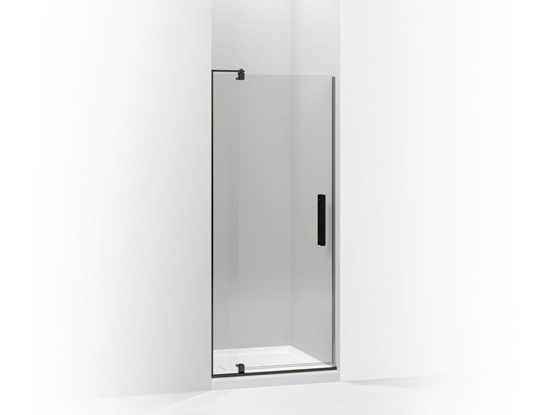 """Kohler K-707500-L-ABZ Revel Pivot Shower Door, 70""""H X 27-5/16 - 31-1/8""""W, with 1/4"""" Thick Crystal Clear Glass in Anodized Dark Bronze"""