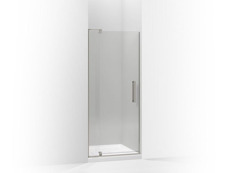 """Kohler K-707501-L-BNK Revel Pivot Shower Door, 70""""H X 27-5/16 - 31-1/8""""W, with 5/16"""" Thick Crystal Clear Glass in Anodized Brushed Nickel"""