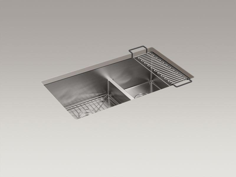 """Kohler K-5284-NA Strive 32"""" x 18-5/16"""" x 9-5/16"""" Smart Divide Under-mount Large/Medium Double-bowl Kitchen Sink with Sink Rack"""