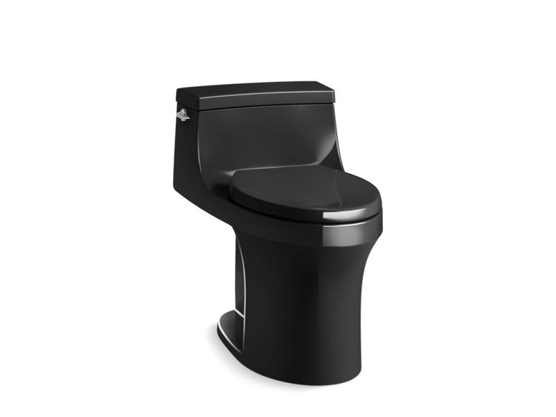 Kohler K-5172-7 San Souci Comfort Height One-piece Compact Elongated 1.28 Gpf Toilet with Aqua piston Flushing Technology, Left-hand Trip Lever and Concealed Trapway in Black