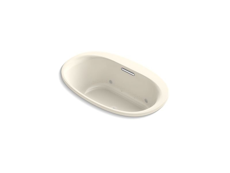 "Kohler K-5714-GVBCW-47 Underscore Oval 60"" x 36"" Drop-In Vibracoustic Bubblemassage Air Bath with Bask Heated Surface and Chromatherapy in Almond"