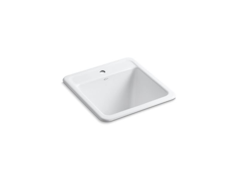 Kohler K-19022-1-0 Park Falls Top-/Under-mount Utility Sink with Single Faucet Hole in White
