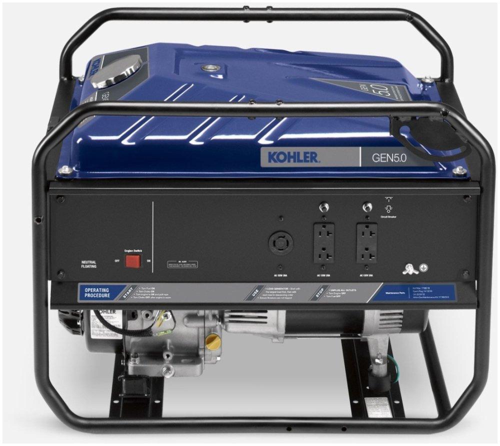 "Kohler GEN-5.0 29.4"" X 21.4"" 22.3"", 120/240Vac, 12Vdc, 20A, 5Kw, 8Gallon, 73.1 To 75.4Db, Portable Gas Generator"