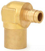 "Uponor Q4386375 5/8"" X 3/4"" Pexxc Brass 90D Reducing/Baseboard Elbow"