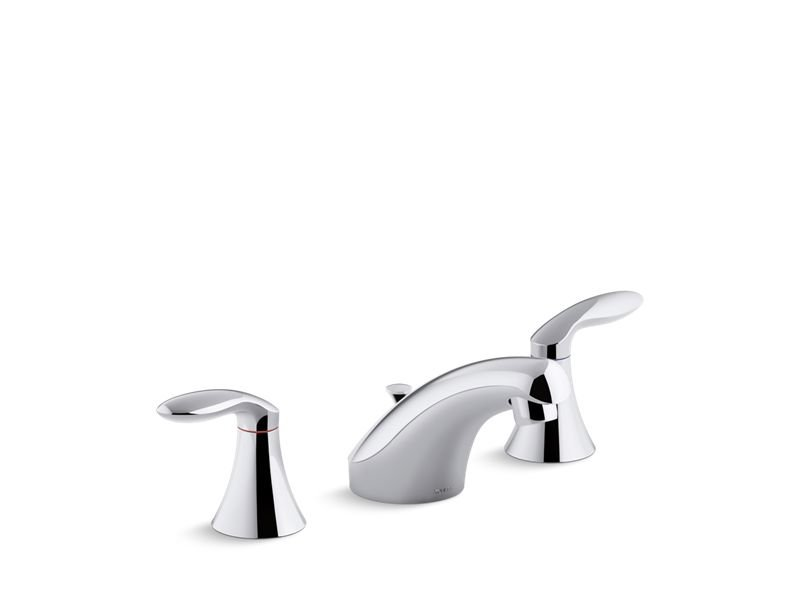 Kohler K-15261-4RA-CP Coralais Widespread Bathroom Sink Faucet with Lever Handles, Pop-Up Drain and Lift Rod in Polished Chrome