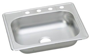 "Elkay Kingsford K125224 25"" X 22"" 6-1/16"" Satin Stainless Steel 4-Hole 1-Bowl Kitchen Sink"