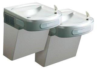 "Elkay EZSTL8LC 36-3/4"" X 19"" 25-5/16"" Light Gray Granite Vinyl Clad Stainless Steel Bi-Level Two Station Water Cooler"