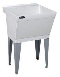"Mustee Utilatub 17F 23"" X 23-1/2"" 34"" Marbleized White Durastone 1-Piece Single Bowl Laundry/Utility Tub"