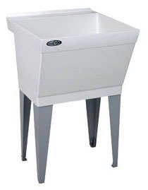 "Mustee Utilatub 17W 23"" X 23-1/2"" 34"" Marbleized White Durastone 1-Piece Single Bowl Laundry/Utility Tub"
