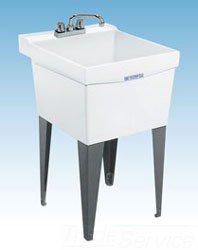 "Mustee Utilatub 18F 20"" X 24"" 34"" Marbleized White Durastone 1-Piece Single Bowl Laundry/Utility Tub"