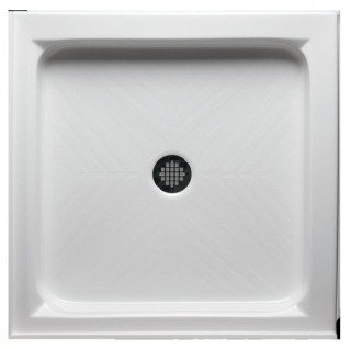 """Americh A 3636 DT-WH 36"""" X 5"""" White/Stainless Lucite Acrylic Base Double Threshold Shower"""