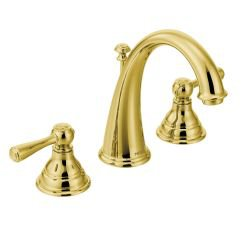"""Moen T6125 Kingsley 8"""" Widespread Two Handle High-Arc Bathroom Faucet Trim Kit in Polished Brass"""
