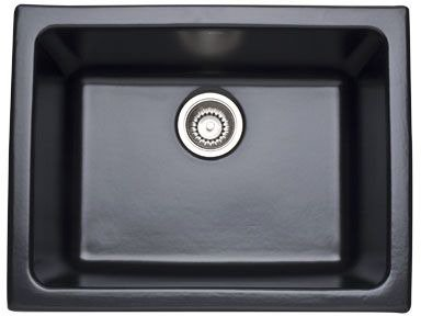Rohl  6347-63   23-15/16-Inch By 18-1/2-Inch By 10-13/16-Inch Allia Single Bowl Undermount Fireclay Kitchen Sink In Matte Black