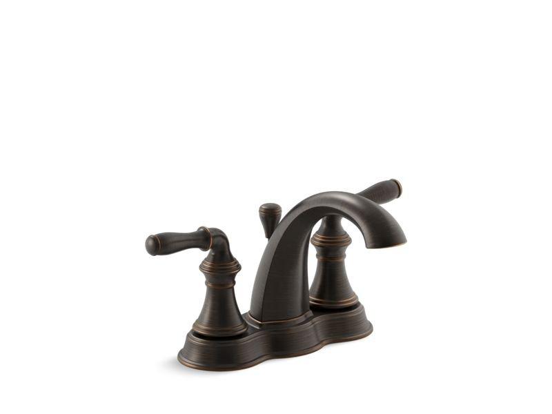 Kohler K-393-N4-2BZ Devonshire Centerset Bathroom Sink Faucet with Lever Handles in Oil-Rubbed Bronze