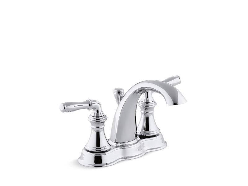 Kohler K-393-N4-CP Devonshire Centerset Bathroom Sink Faucet with Lever Handles in Polished Chrome