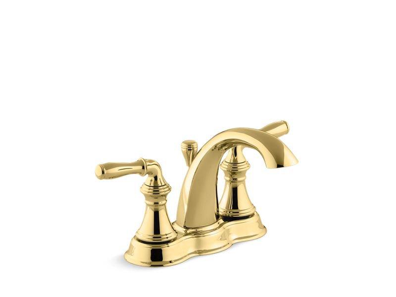 Kohler K-393-N4-PB Devonshire Centerset Bathroom Sink Faucet with Lever Handles in Vibrant Polished Brass