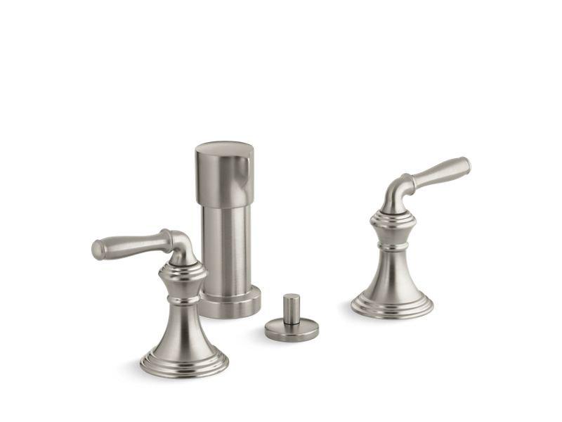 Kohler K-412-4-BN Devonshire Vertical Spray Bidet Faucet with Lever Handles in Vibrant Brushed Nickel