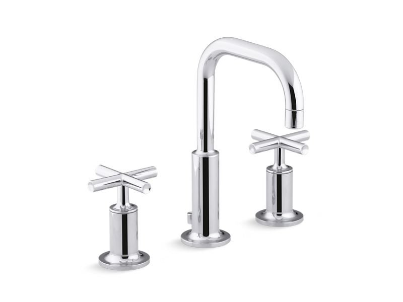 Kohler K-14406-3-CP Purist Widespread Bathroom Sink Faucet with Low Cross Handles and Low Gooseneck Spout in Polished Chrome