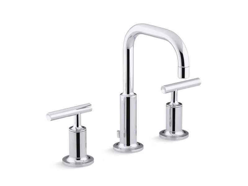 Kohler K-14406-4-CP Purist Widespread Bathroom Sink Faucet with Low Lever Handles and Low Gooseneck Spout in Polished Chrome