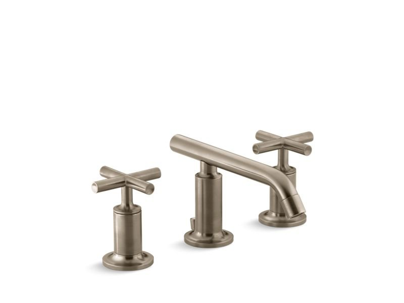 Kohler K-14410-3-BV Purist Widespread Bathroom Sink Faucet with Low Cross Handles and Low Spout in Vibrant Brushed Bronze
