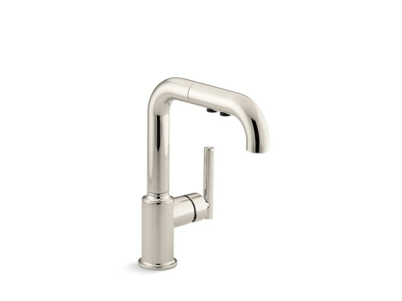 """Kohler K-7506-SN Purist Single-Hole Kitchen Sink Faucet with 7"""" Pull-Out Spout in Vibrant Polished Nickel"""