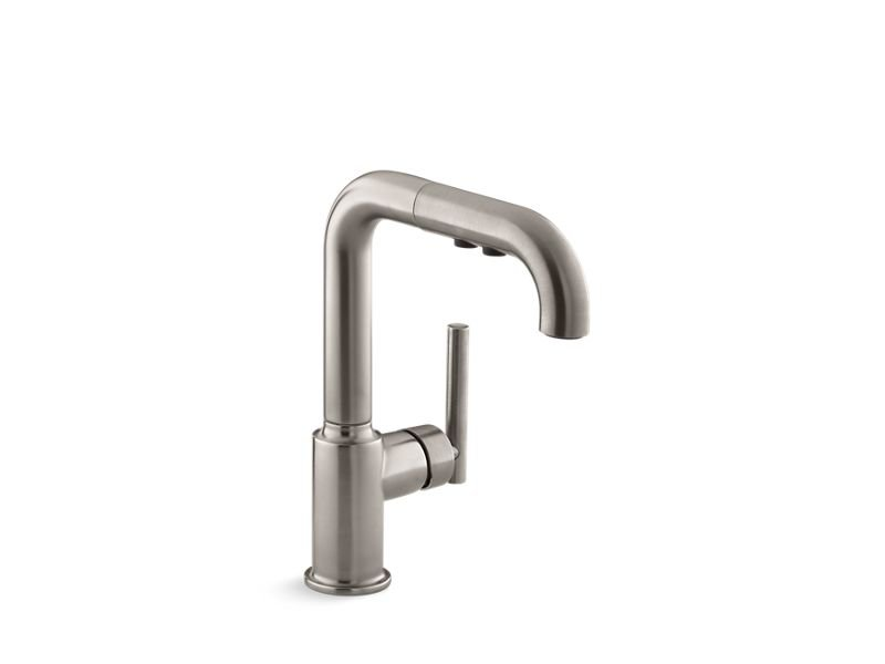 """Kohler K-7506-VS Purist Single-Hole Kitchen Sink Faucet with 7"""" Pull-Out Spout in Vibrant Stainless"""