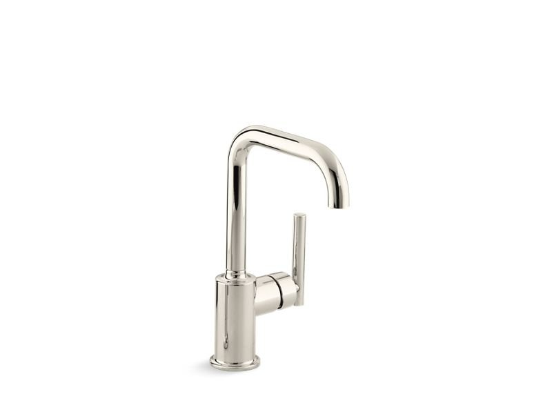 """Kohler K-7509-SN Purist Single-Hole Kitchen Sink Faucet with 6"""" Spout in Vibrant Polished Nickel"""