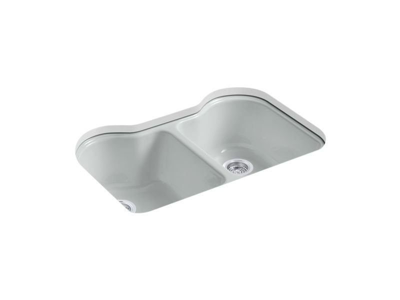 """Kohler K-5818-5U-95 Hartland 33"""" x 22"""" x 9-5/8"""" Under-mount Double-equal Kitchen Sink with 5 Faucet Holes in Ice Grey"""