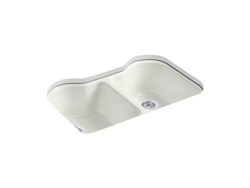 """Kohler K-5818-5U-NY Hartland 33"""" x 22"""" x 9-5/8"""" Under-mount Double-equal Kitchen Sink with 5 Faucet Holes in Dune"""