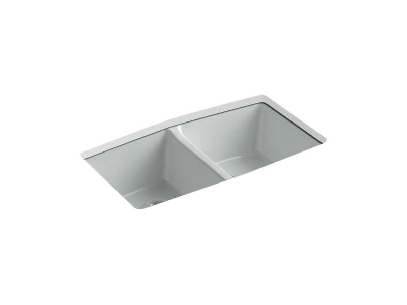 """Kohler K-5846-5U-95 Brookfield 33"""" x 22"""" x 9-5/8"""" Under-mount Double-equal Kitchen Sink in Ice Grey"""